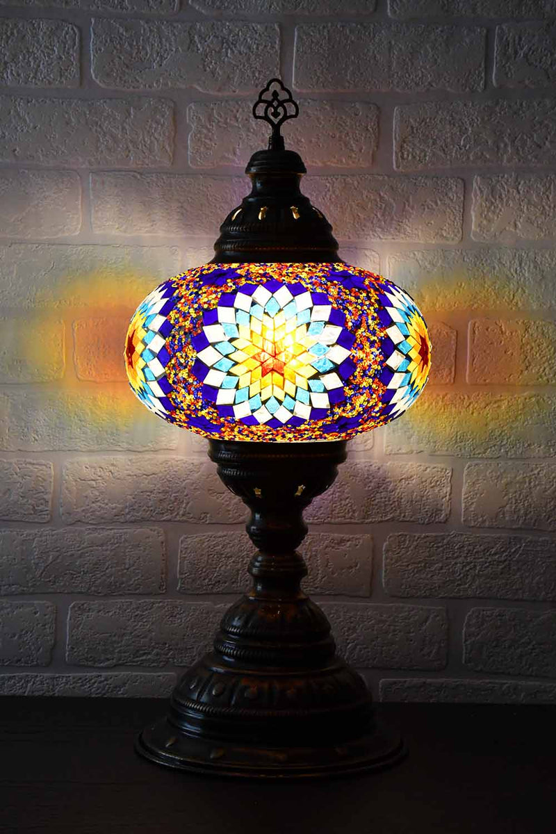 Turkish Table Lamp Large Multicoloured Fancy Star Lighting Sydney Grand Bazaar