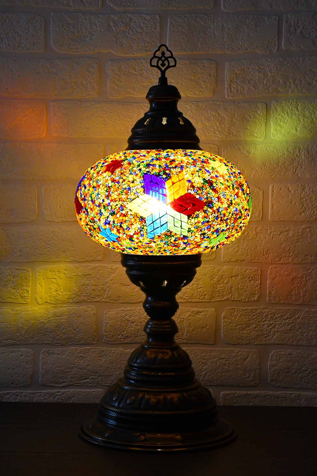 Turkish Table Lamp Large Multicoloured Rainbow Star Lighting Sydney Grand Bazaar
