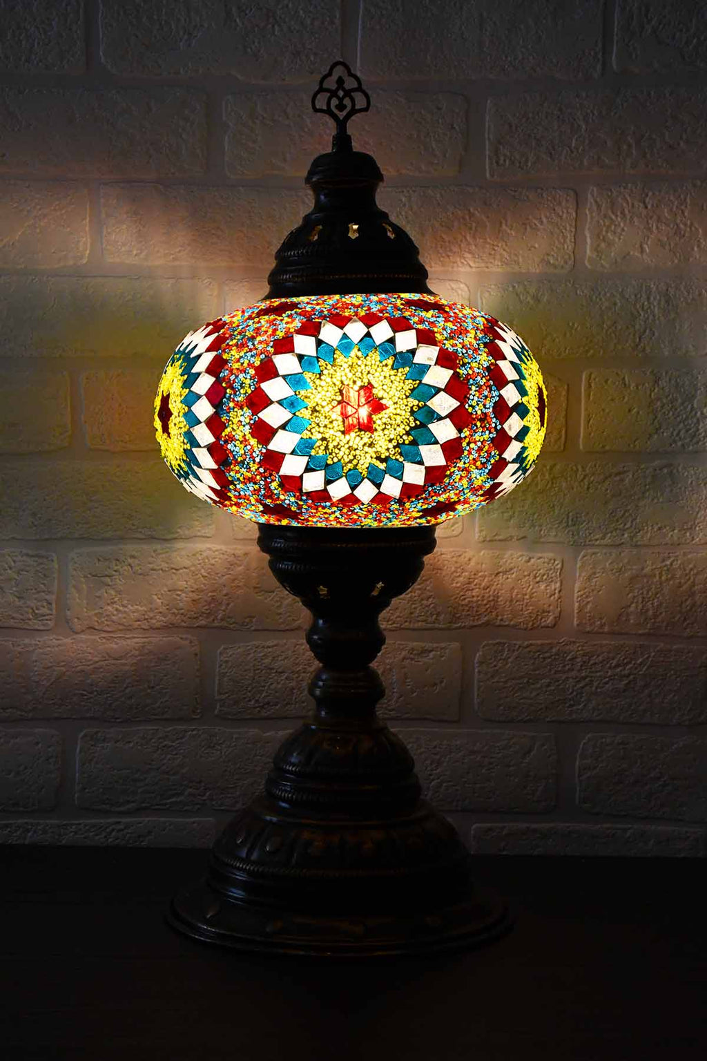 Turkish Table Lamp Large Multicoloured Teal Round Beads Lighting Sydney Grand Bazaar