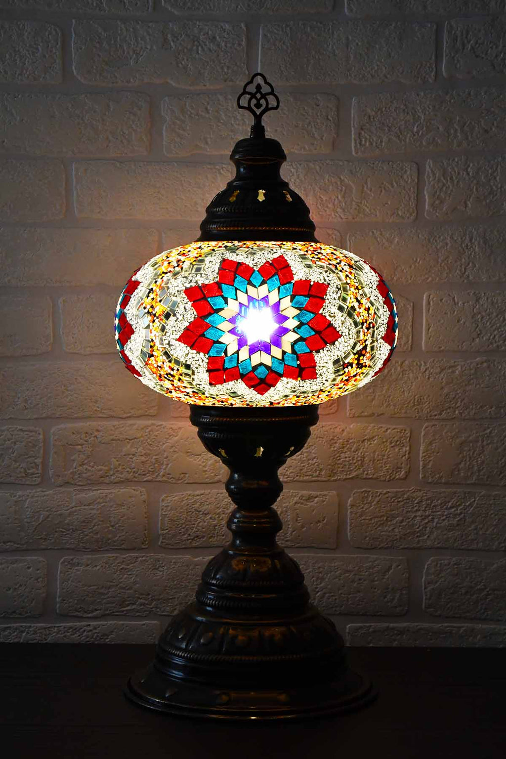 Turkish Table Lamp Large Multicoloured Teal Star Beads Lighting Sydney Grand Bazaar