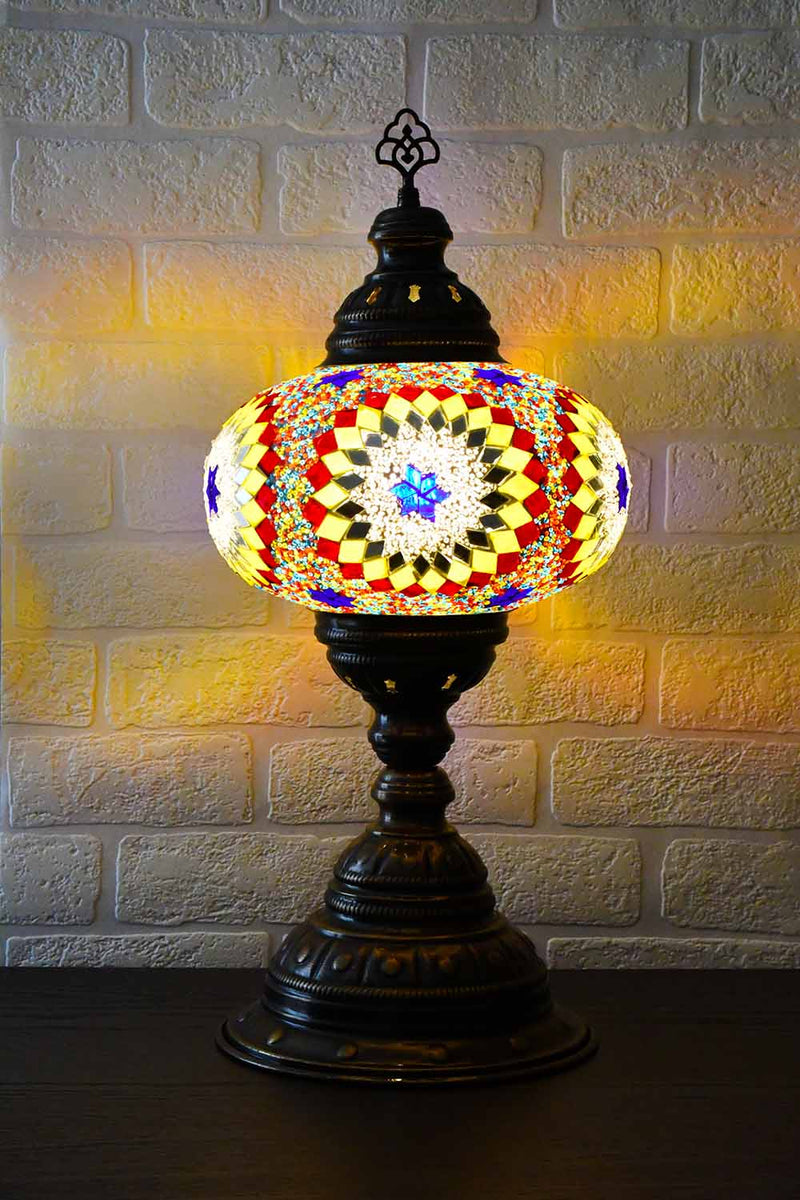 Turkish Table Lamp Large Multicoloured White Beads Lighting Sydney Grand Bazaar