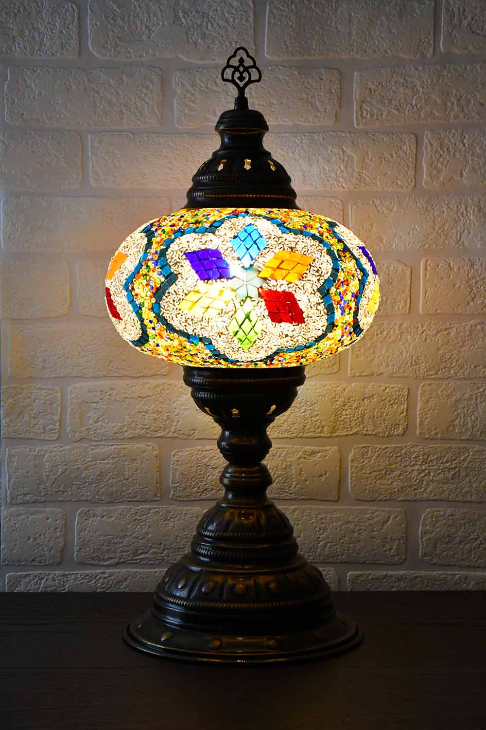 Turkish Table Lamp Large Multicoloured White Beads Star Lighting Sydney Grand Bazaar