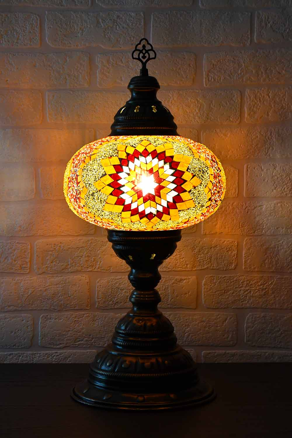 Turkish Table Lamp Large Orange Yellow Star Beads Lighting Sydney Grand Bazaar