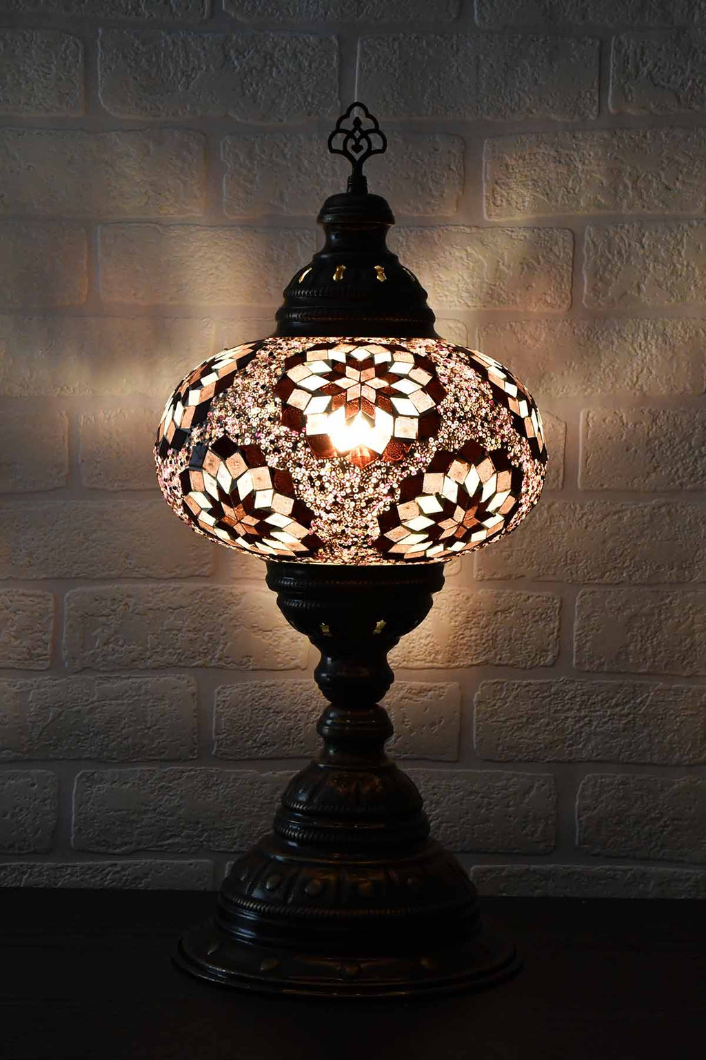 Turkish Table Lamp Large Purple Multi Star Lighting Sydney Grand Bazaar