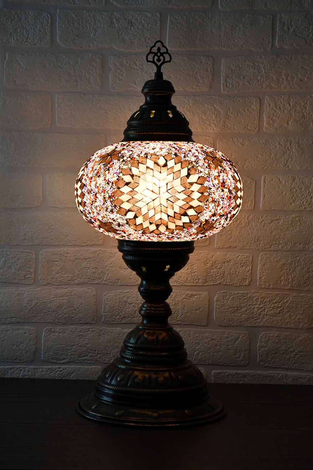 Turkish Table Lamp Large Purple Pink Star Beads Lighting Sydney Grand Bazaar
