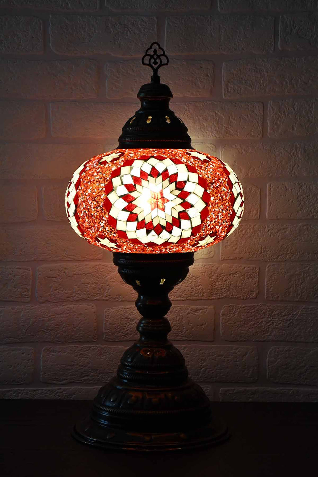 Turkish Table Lamp Large Red Clear Star Beads Lighting Sydney Grand Bazaar