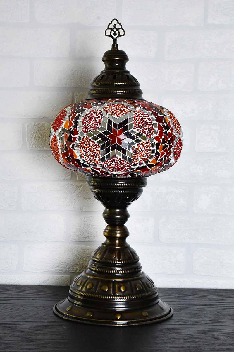 Turkish Table Lamp Large Red Orange Flower Star Lighting Sydney Grand Bazaar