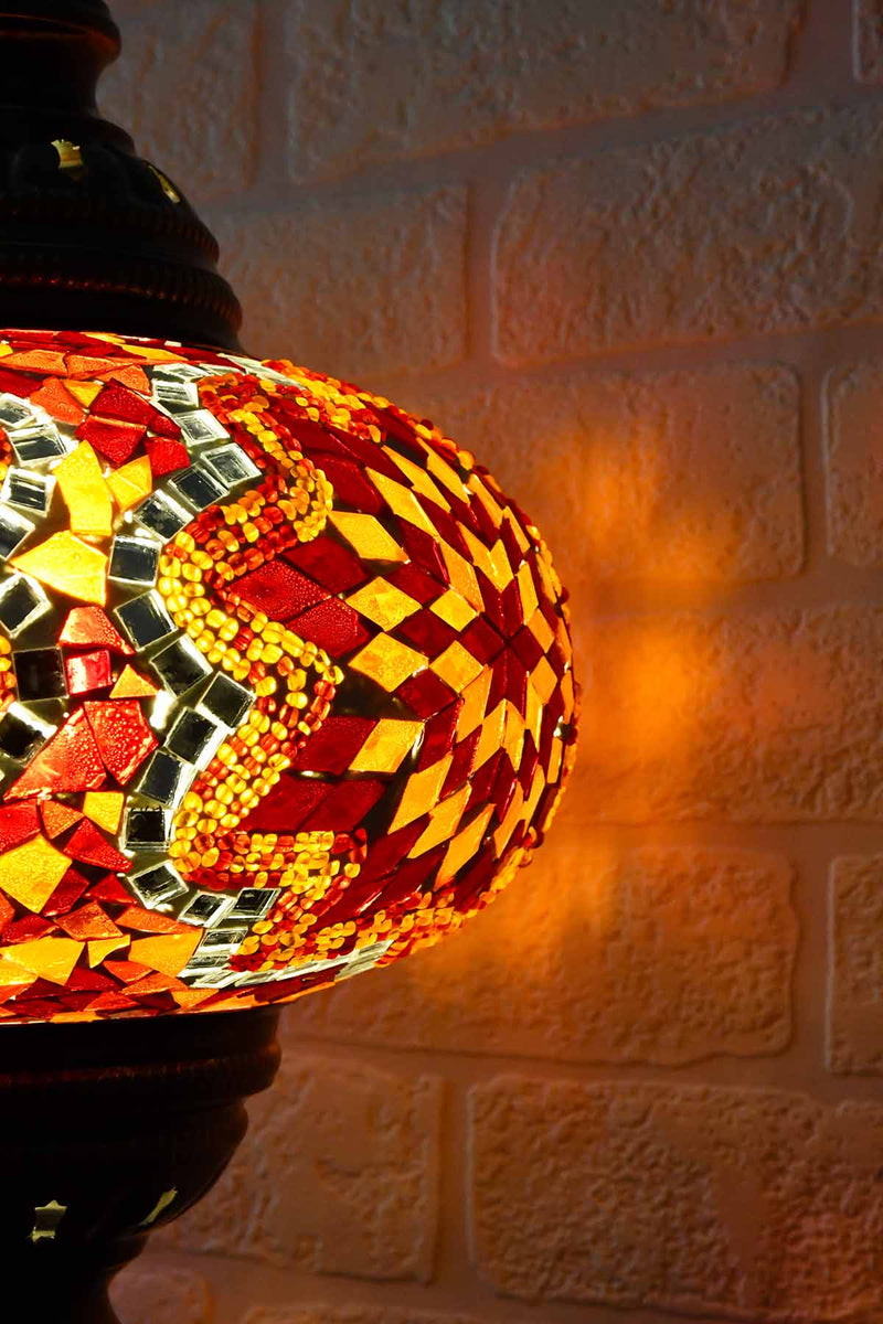 Turkish Table Lamp Large Red Orange Mosaic Star Lighting Sydney Grand Bazaar