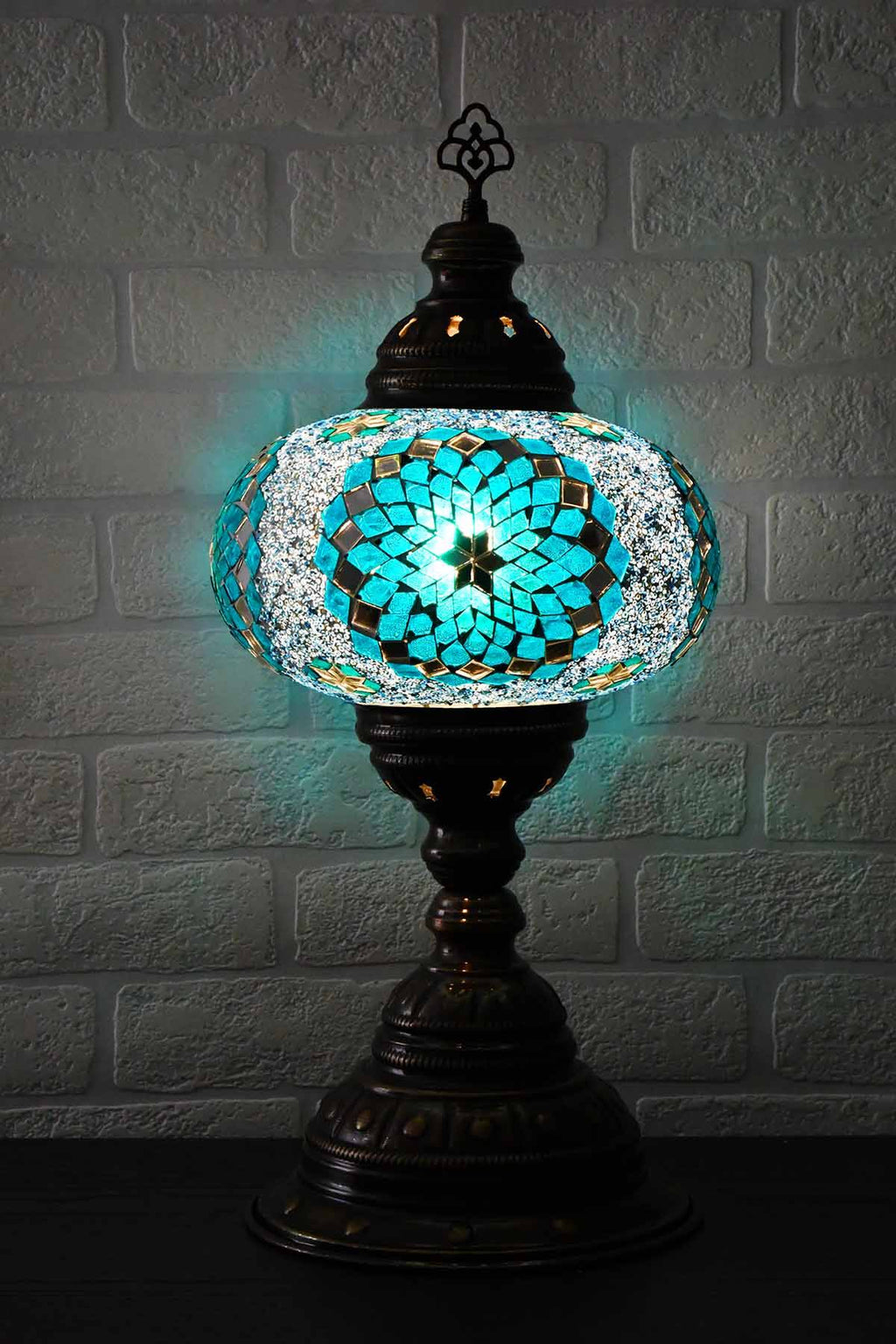 Turkish Table Lamp Large Turquoise Star Lighting Sydney Grand Bazaar