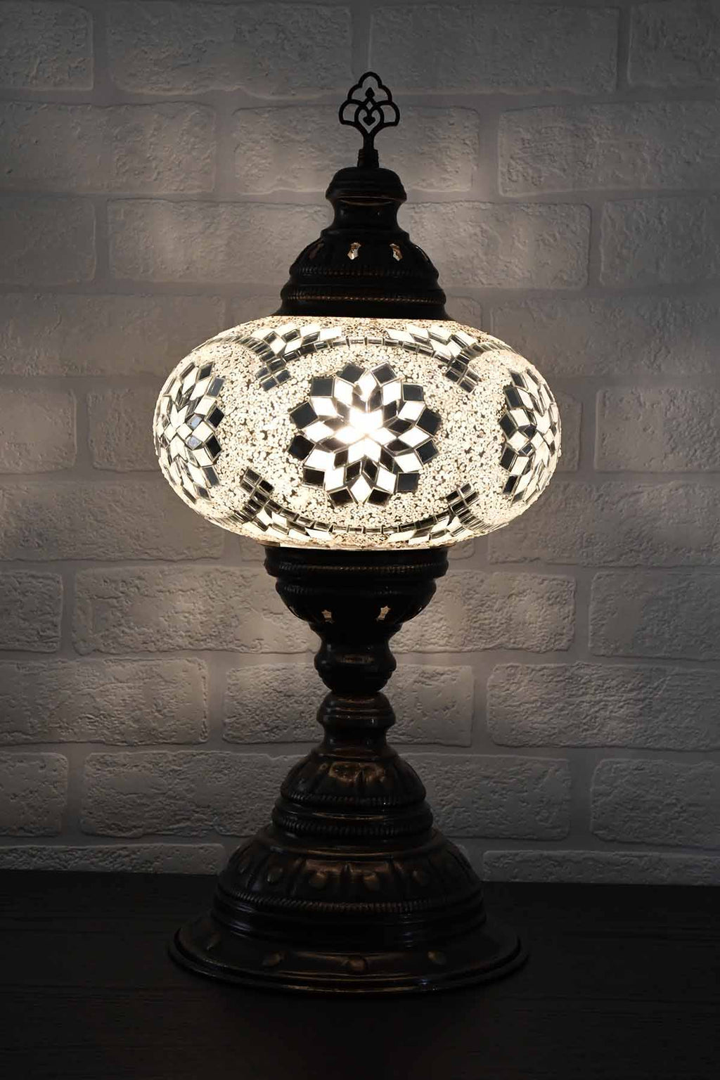 Turkish Table Lamp Large White Star Beads Lighting Sydney Grand Bazaar