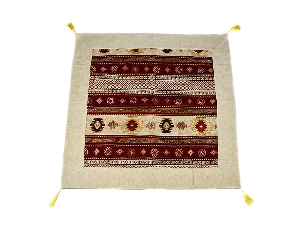 Turkish Tablecloth Aztec, Beige Red Textile Sydney Grand Bazaar 90cm x 90cm
