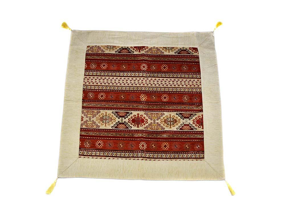 Turkish Tablecloth Aztec, Beige Rusty Orange Textile Sydney Grand Bazaar 90cm x 90cm