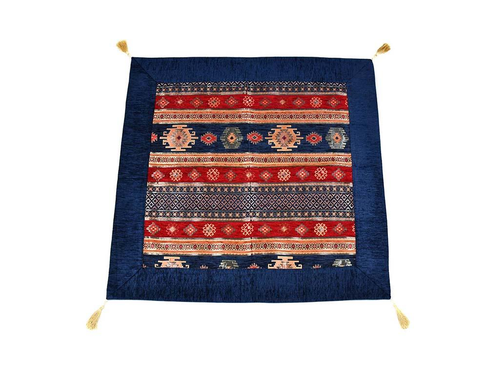 Turkish Tablecloth Aztec, Blue Red Textile Sydney Grand Bazaar 90cm x 90cm