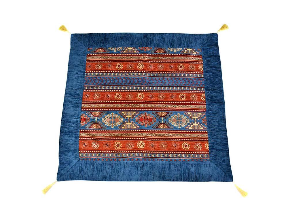 Turkish Tablecloth Aztec, Light Blue Rusty Orange Textile Sydney Grand Bazaar 90cm x 90cm