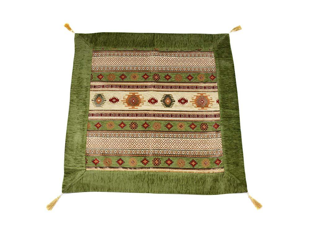 Turkish Tablecloth Aztec, Light Green Cream Textile Sydney Grand Bazaar 90cm x 90cm
