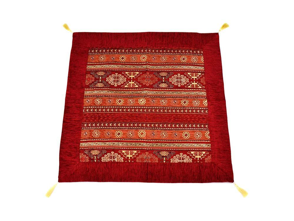 Turkish Tablecloth Aztec, Red Rusty Orange Textile Sydney Grand Bazaar 90cm x 90cm