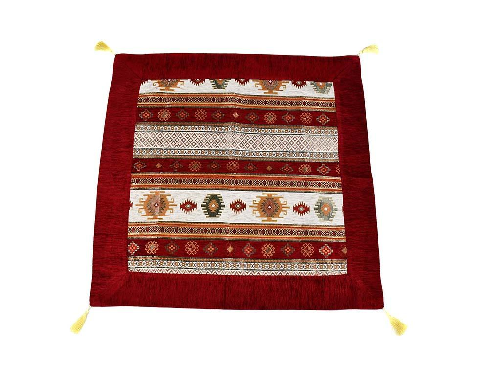 Turkish Tablecloth Aztec, Red White Textile Sydney Grand Bazaar 90cm x 90cm