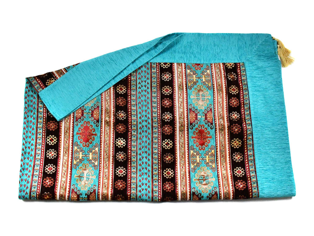 Turkish Tablecloth Aztec, Turquoise Brown Textile Sydney Grand Bazaar 220cm x 165cm