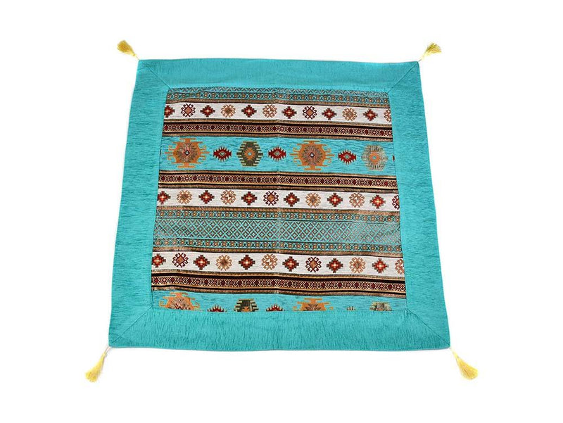 Turkish Tablecloth Aztec, Aqua White