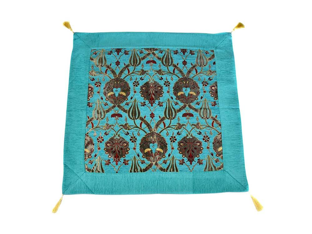 Turkish Tablecloth Flower, Turquoise Textile Sydney Grand Bazaar 90cm x 90cm