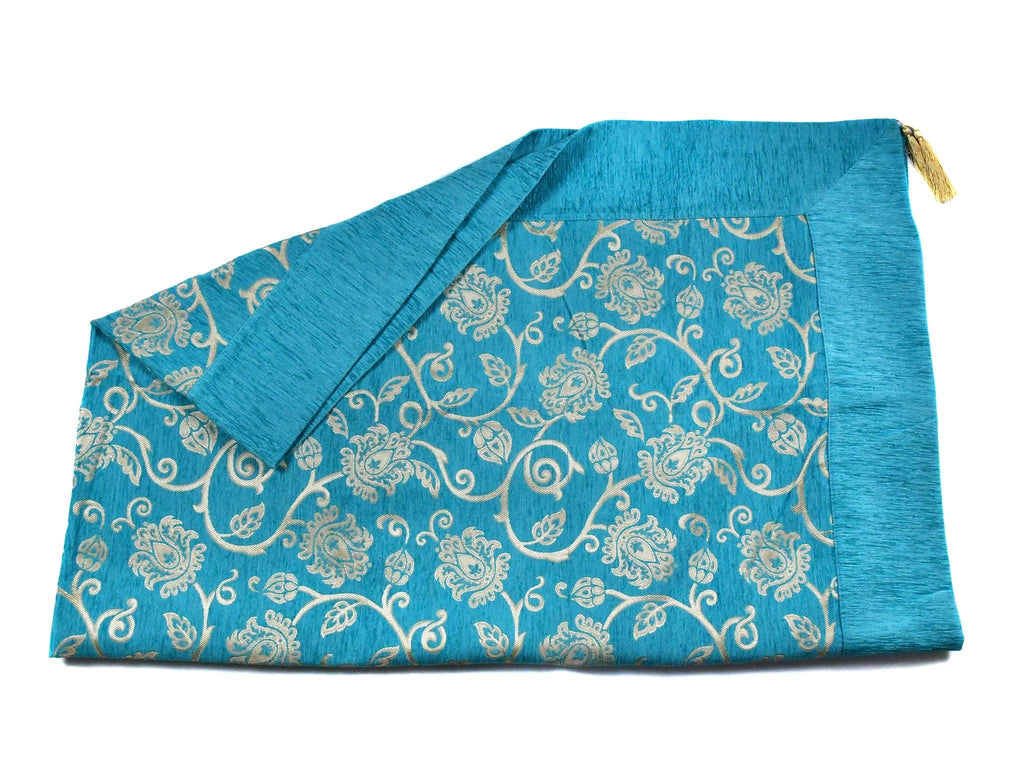Turkish Tablecloth New Floral, Turquoise Textile Sydney Grand Bazaar 220cm x 165cm