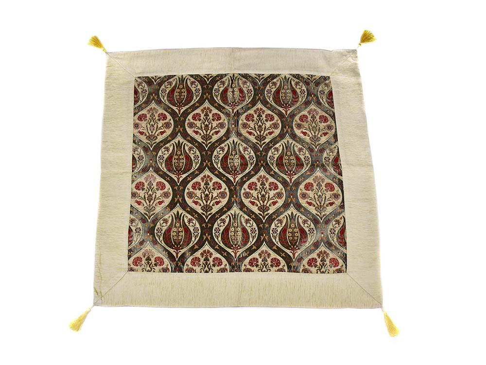 Turkish Tablecloth Ottoman Flower, Beige Textile Sydney Grand Bazaar 90cm x 90cm