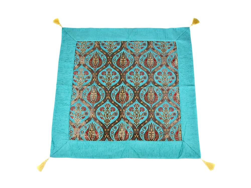 Turkish Tablecloth Ottoman Flower, Turquoise Textile Sydney Grand Bazaar 90cm x 90cm