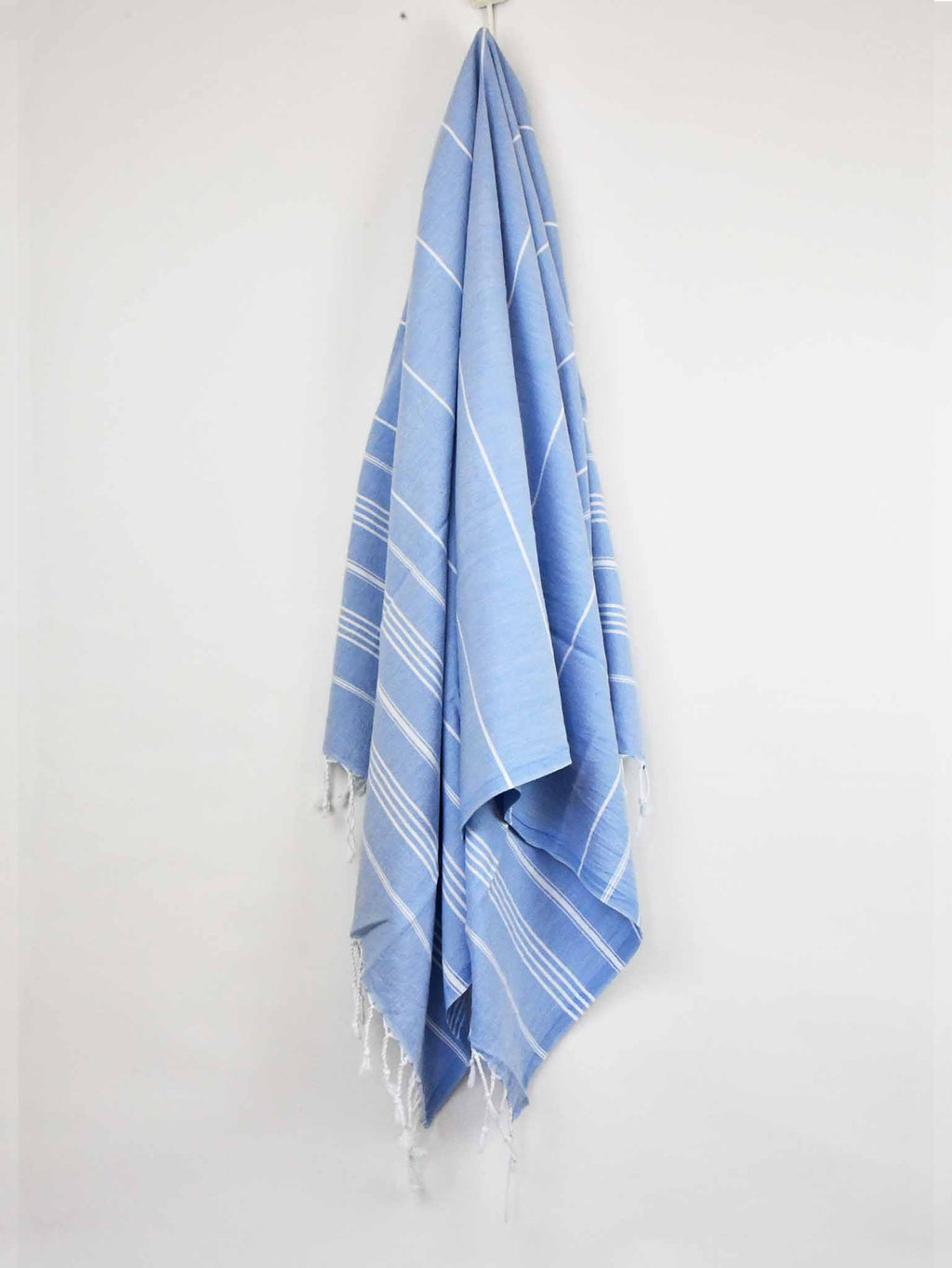 Turkish Towel Classic Striped Sky Blue Turkish Towel Sydney Grand Bazaar