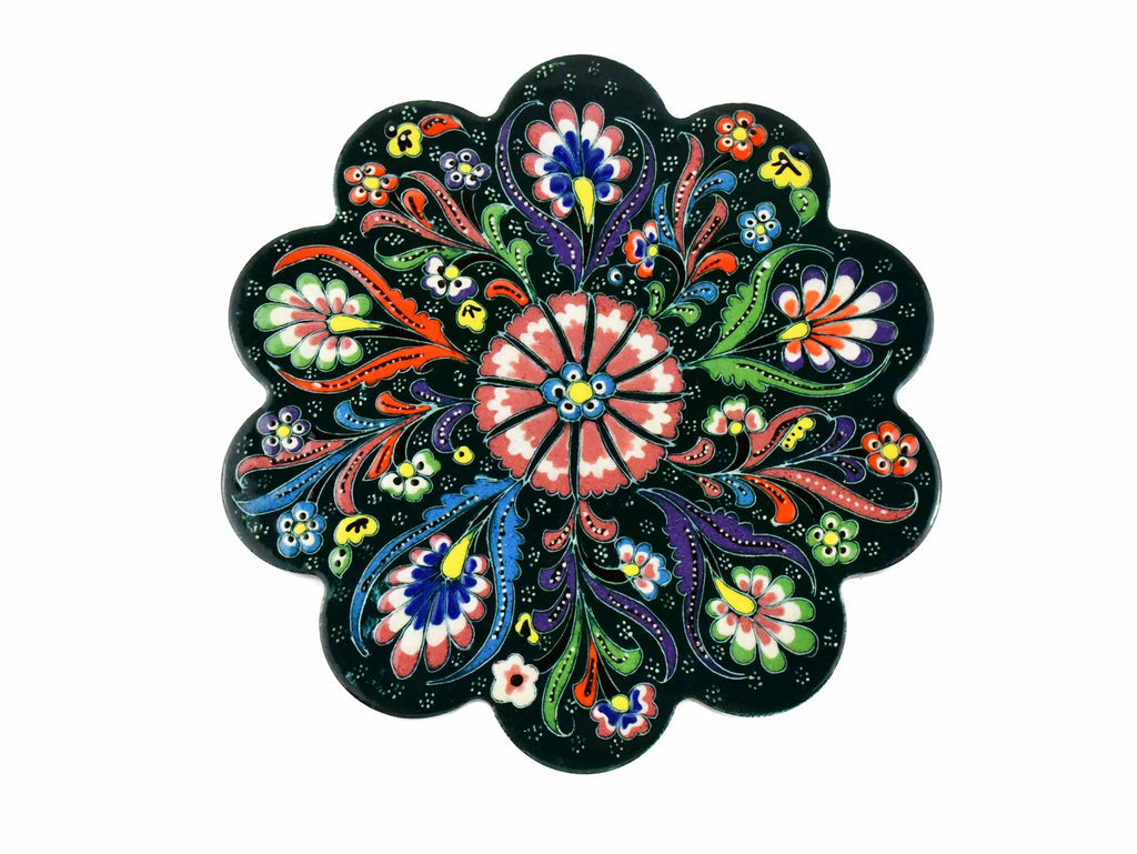 Turkish Trivet Flower Collection Dark Green Ceramic Sydney Grand Bazaar 1