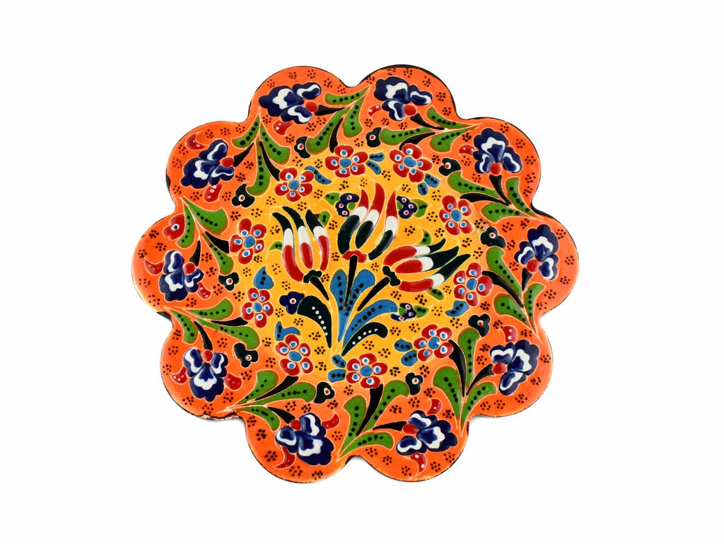Turkish Trivet Flower Collection Two Tone Orange Ceramic Sydney Grand Bazaar 1