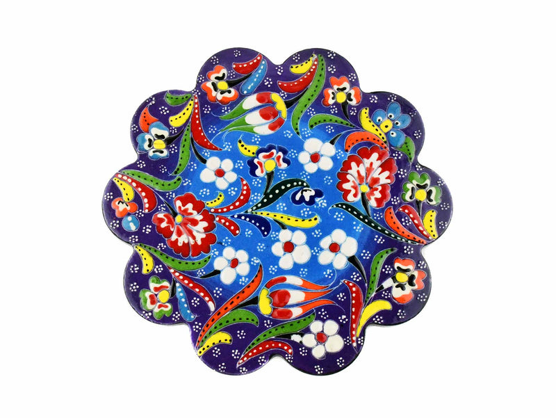 Turkish Trivet Flower Collection Two Tone Blue