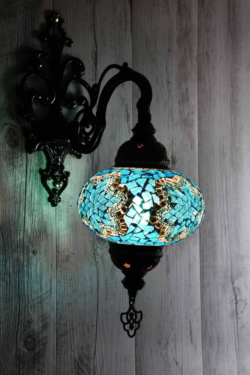 Turkish Wall Light Single Aqua Mosaic Star Lighting Sydney Grand Bazaar