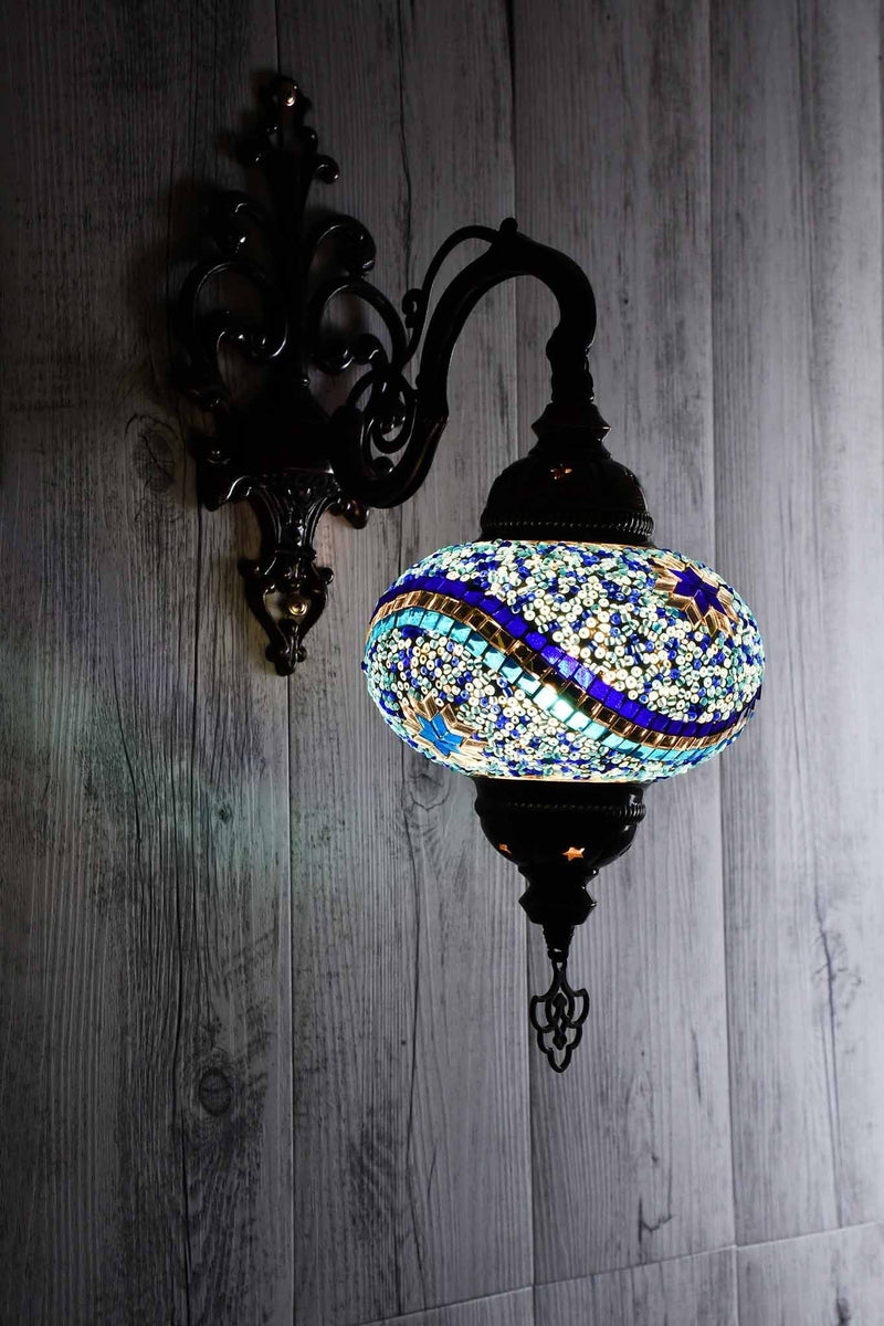 Turkish Wall Light Single Purple Mosaic Star