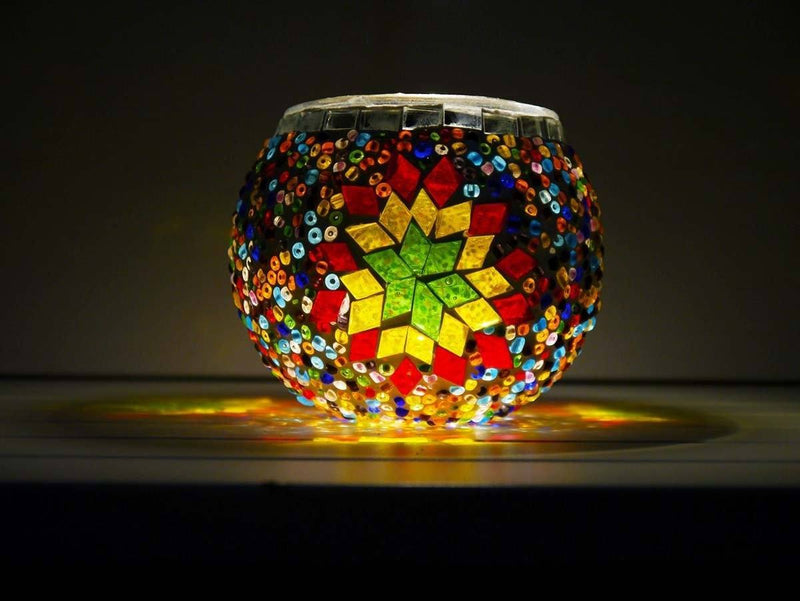 Turkish Mosaic Candle Holder, Blue&Red