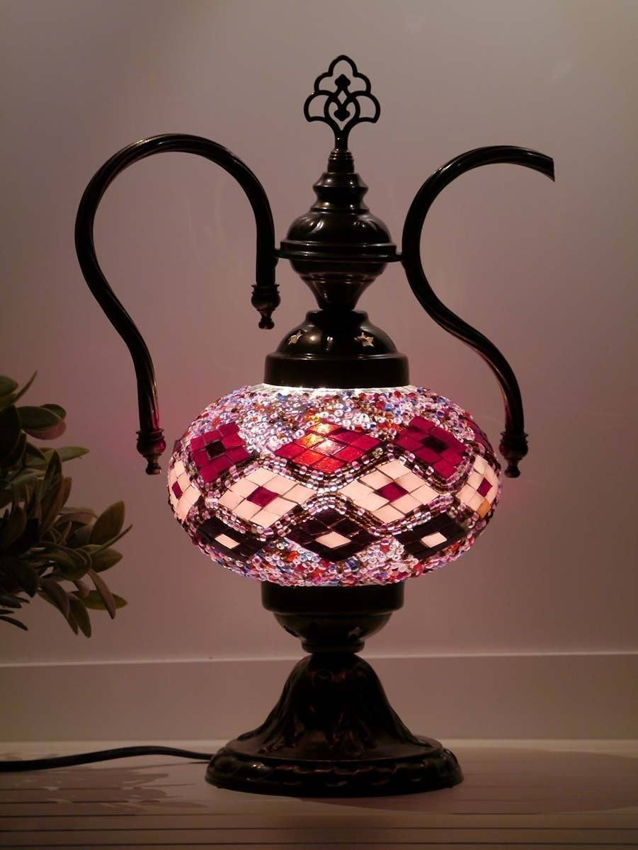 turkish teapot lamp red_pink_burgundy colour