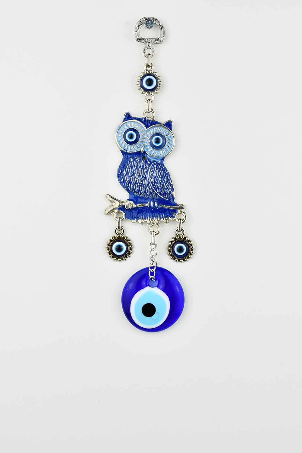 evil eye wall ornament in owl design handpainted in blue colour.