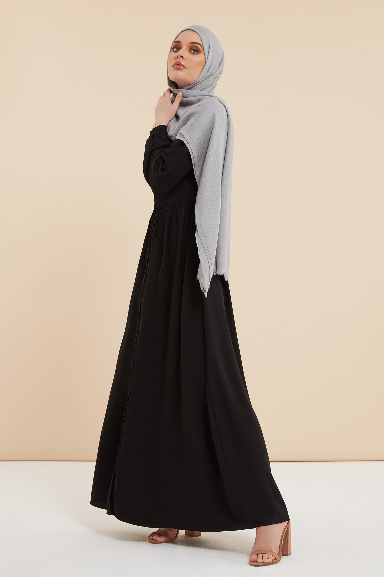 Black abaya with buttons, Flared abaya, Open Abaya, Designer abayas, black abaya for work, abayas black