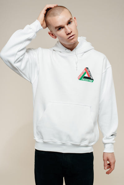 White Palestine Hooded Sweatshirt