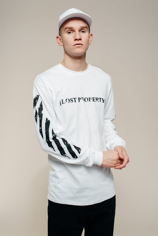 White Lost Property Arabic Long Sleeve T-Shirt