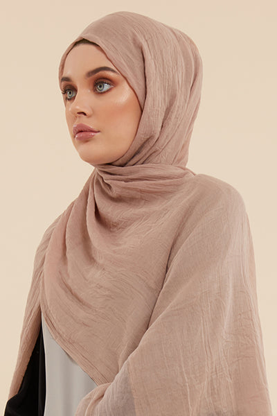 Beige Cotton & Silk Hijab