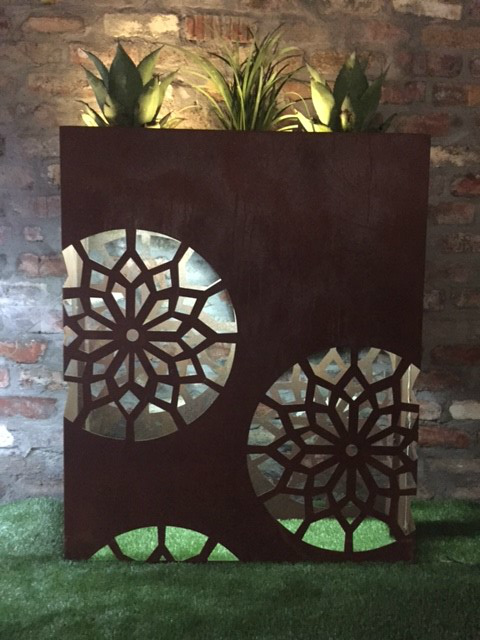 laser cut steel planter