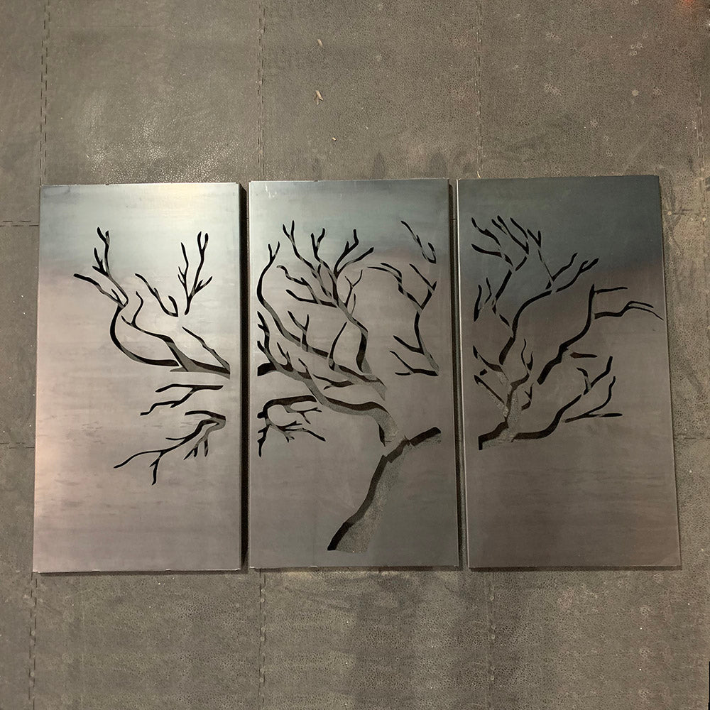 Three Tree Panel Raw Steel