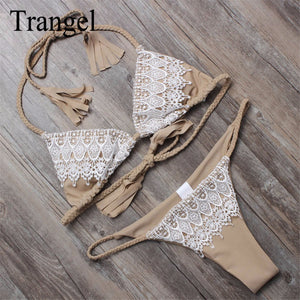 Trangel women bikini 2018 halter swimwear brazilian thong bikini set sexy lace swimsuits summer bathing suits padding beach wear
