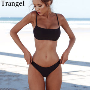 Trangel sexy bikinis women 2018 summer beach bathing suit solid bikini set push up swimsuit women swimwear thong biquinis mujer