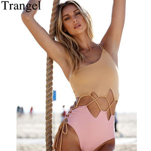 Trangel One Piece Swimsuit Women Swimwear Patchwork Monokini Hollow Out Swim Suit Bodysuit Bathing Suit One Shoulder Beach Wear
