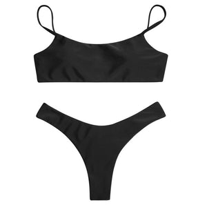 Trangel Bandeau Bikini Set 2018 Low Waist Swimwear Thong Swimsuit Retro Solid Bikini Push Up Bathing Suit High Cut Bodysuit