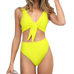 Trangel Sexy Solid Bikinis 2018 Women Swimsuit Padded Bowknot Bikini Set High Waist Swimwear Female Bathing Suit Maillot De Bain