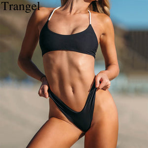 Trangel 2018 high cut bikini set bandage swimsuit women swim wear solid black swimming bathing suit biquinis thong bikinis women