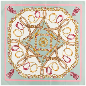 Silk Scarf Luxury Brand Melt Chain Neckerchief Headscarf Square Scarves Lady Foulard Female Bandana