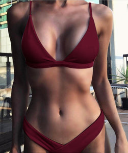 Trangel Sexy Bikinis Set 2018 Women Swimsuit Pink Swimwear Bathing Suit High Cut Brazilian Bikini Summer Beachwear Femme Biquini